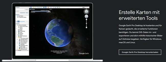 Offizielle Download-Seite von Google Earth Pro