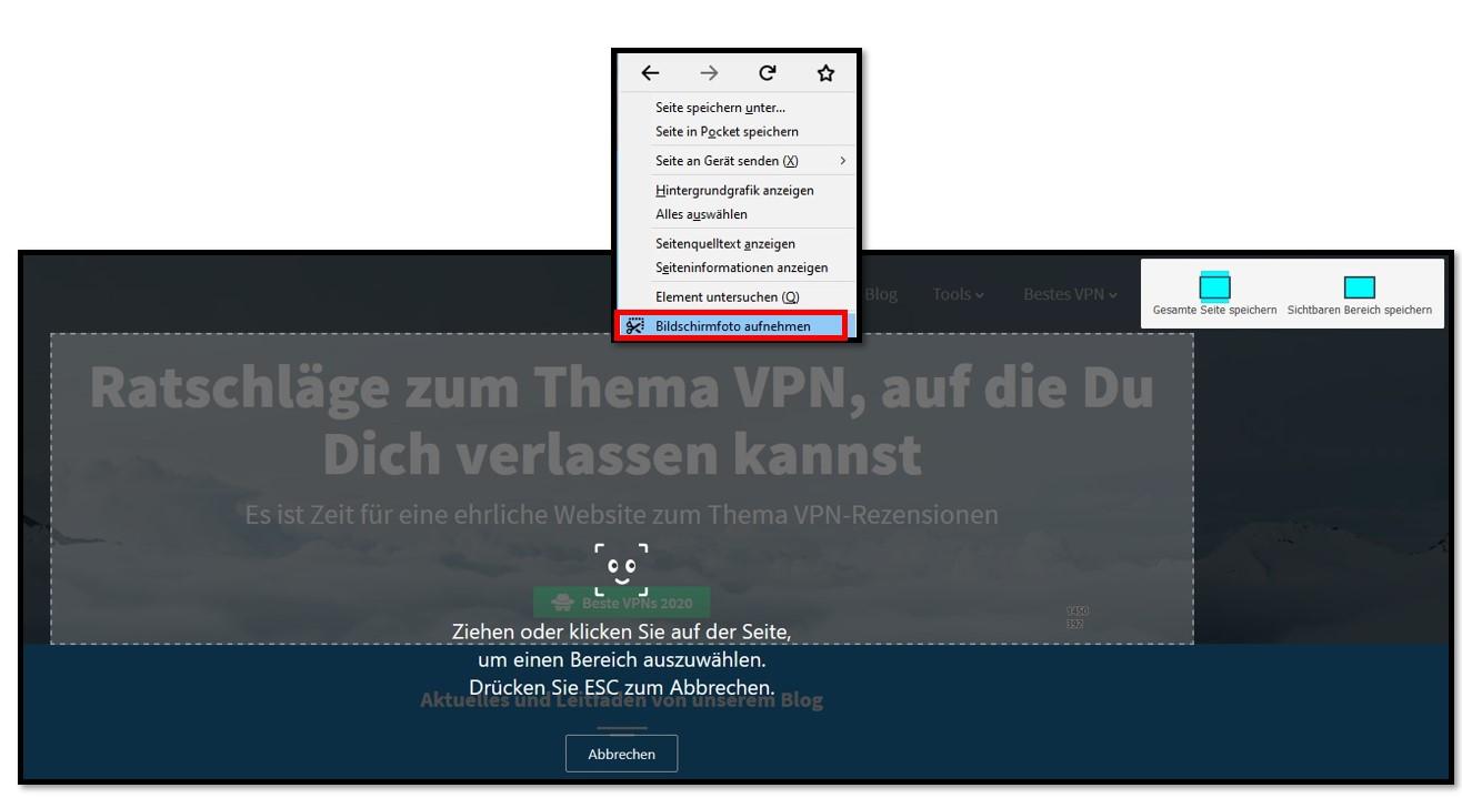 Das Screenshot-Tool von Firefox