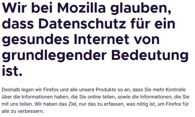 Firefox-Datenschutzerklärung