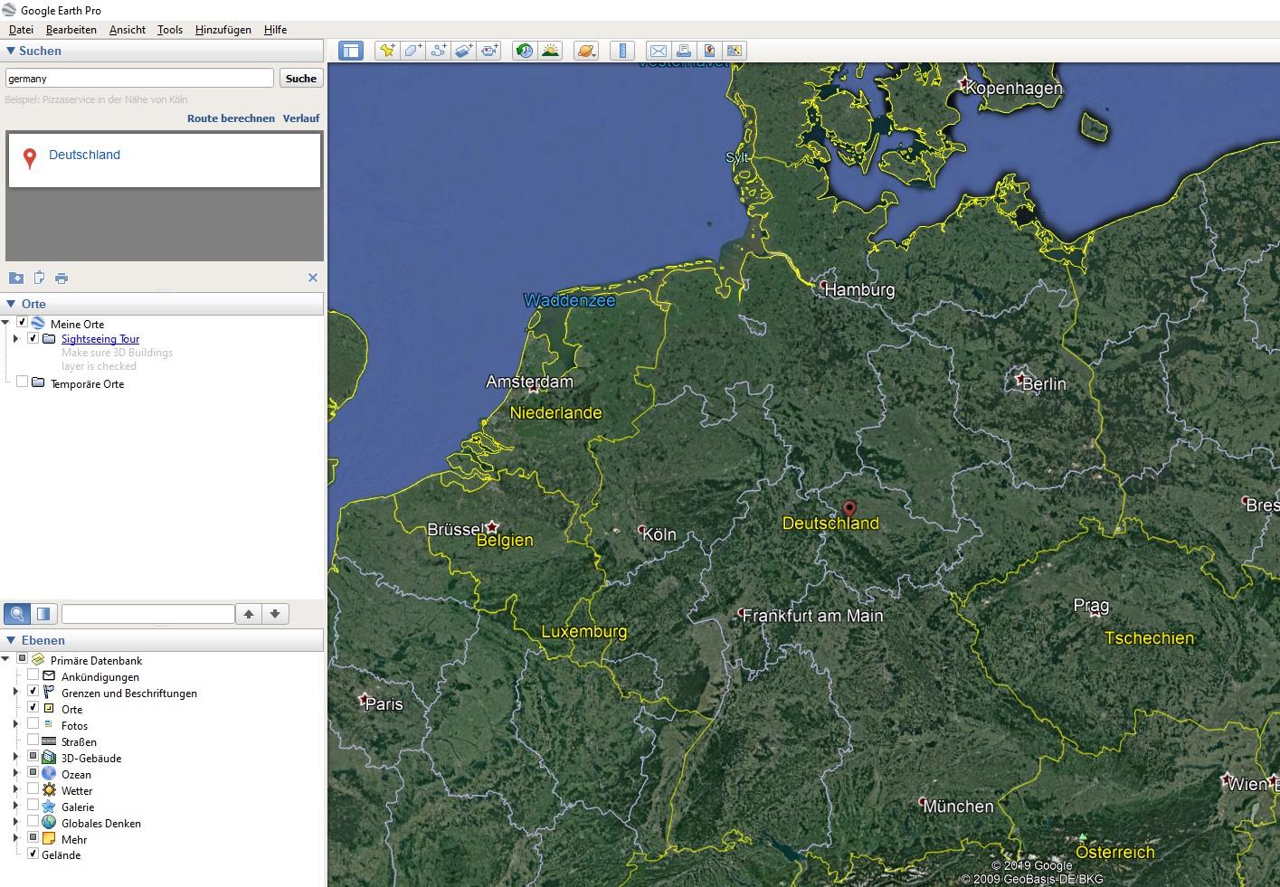 Google Earth Pro-Benutzeroberfläche
