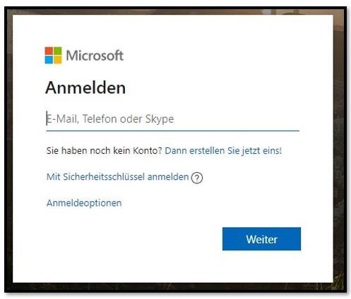 Microsoft-Anmeldeseite