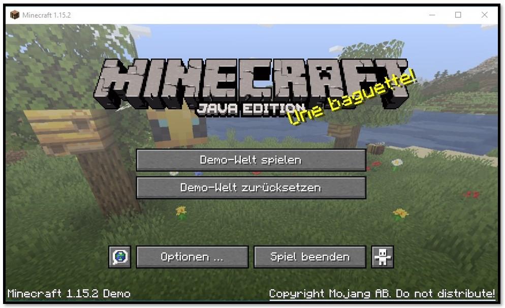 MineCraft - Spielen Sie in der Demo-Welt
