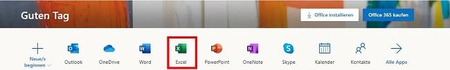 Office365 Online-Version von Excel