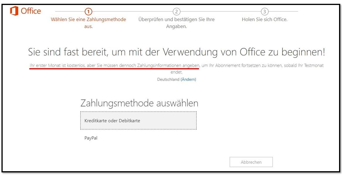 Der erste Monat von Office 365 ist kostenlos