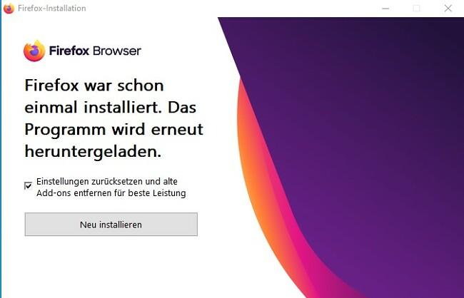 Firefox neu installieren