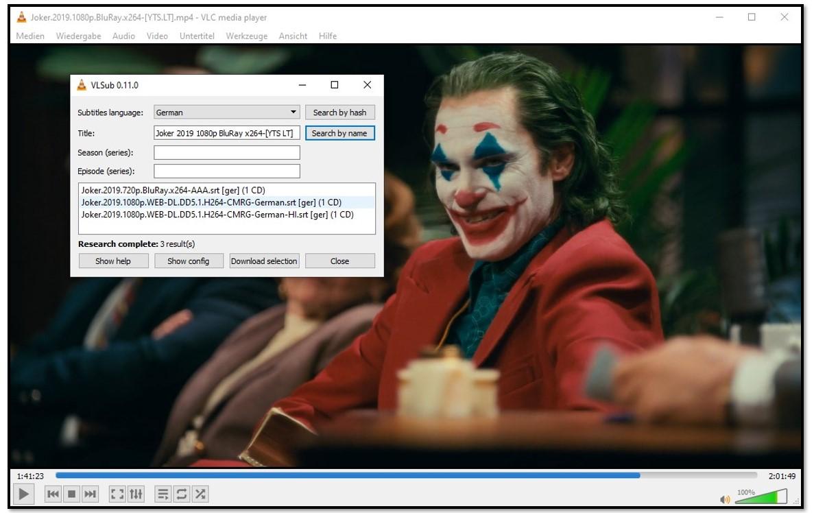 Hinzufügen von Medieninformationen zu VLC VLsub