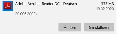 Deinstallieren Sie Adobe Acrobat Reader DC