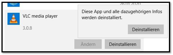 Deinstallieren Sie VLC Media Player unter Windows