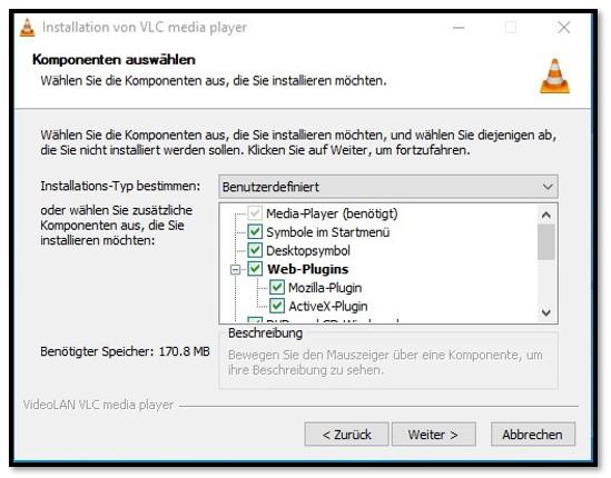 VLC-Setup-Optionen