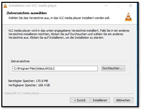 VLC-Installationsort