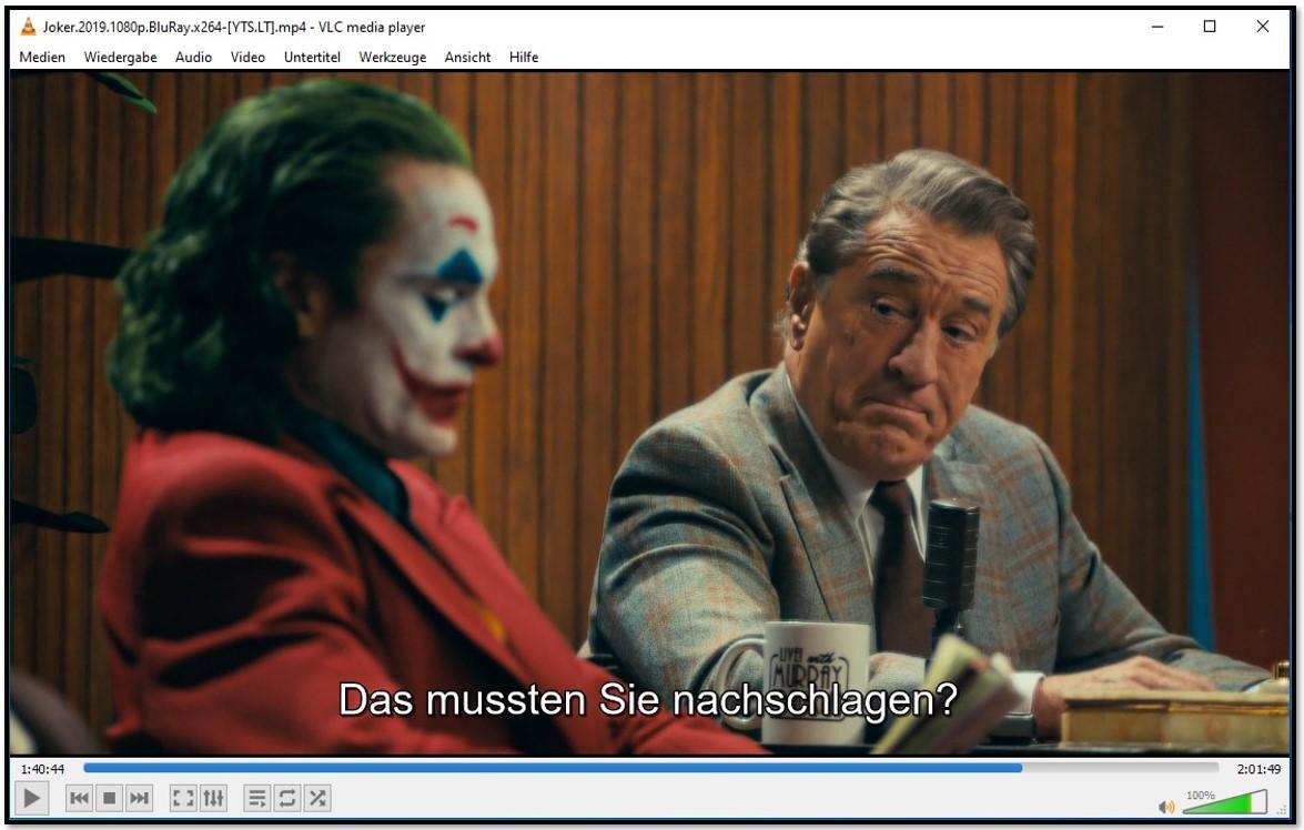 Anzeigen von Untertiteln auf dem VLC Media Player