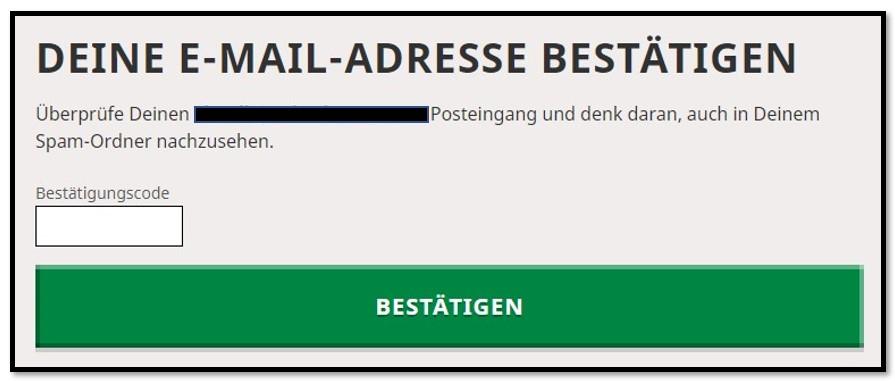 E-Mail-Bestätigung des Mojang-Kontos