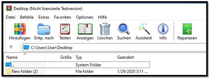 WinRAR-Startbildschirm