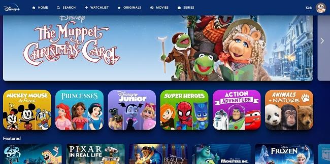 Disney+s barnprofil skiljer sig från standardprofilen.