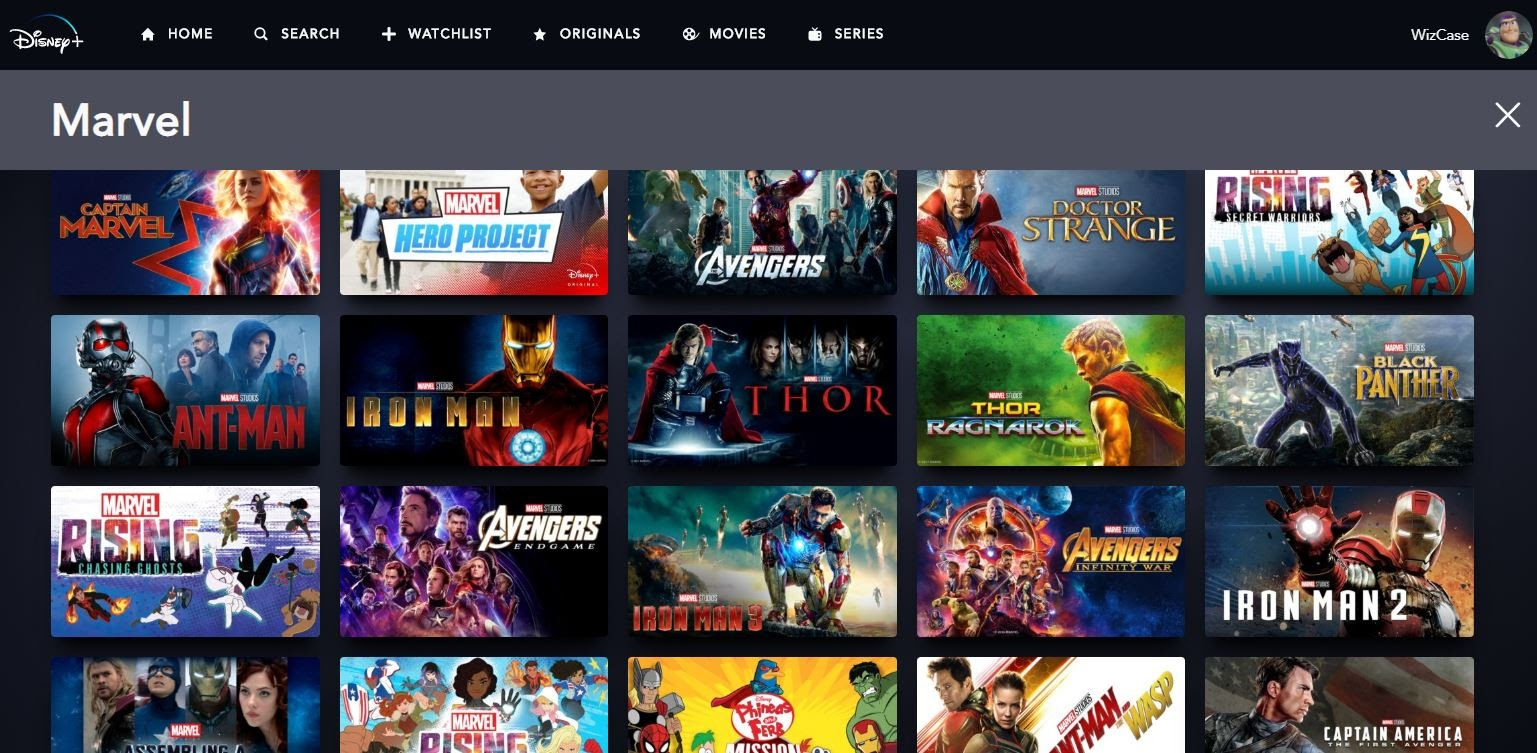 Screenshot of Marvel movies and TV shows on Disney Plus