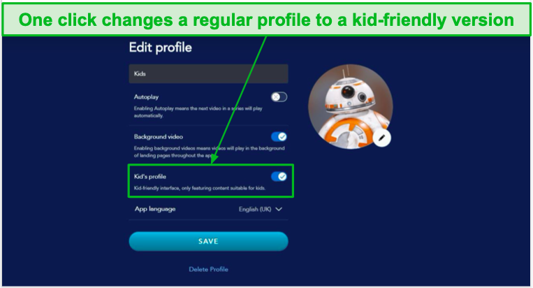 Change a regular profile on Disney+ to a child-friendly profile with one click.