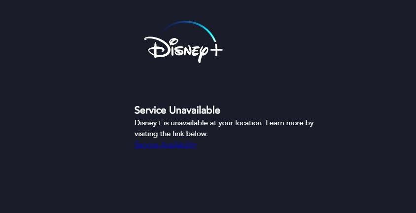 Error message when you try to access Disney Plus outside of its 5 service locations.