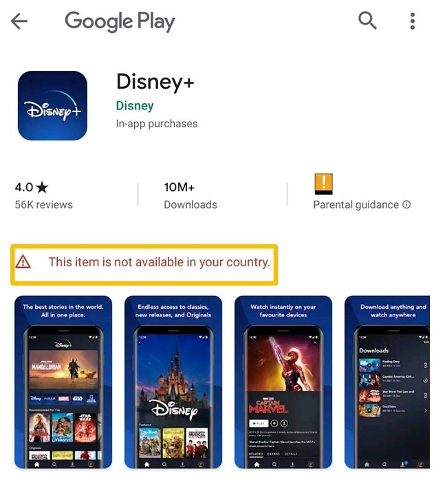 Felmeddelandet i Google Play Butik för Disney+-appen. Du kan inte ladda ned appen om du inte är i USA eller är ansluten till en amerikansk server.