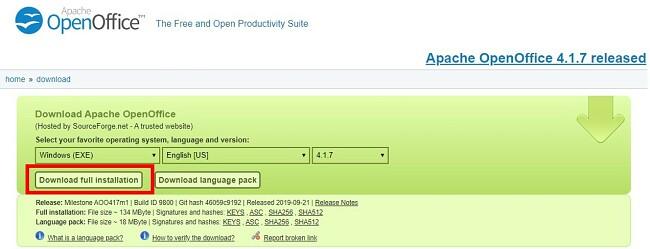 Lataa OpenOffice - Koko asennuksen lataus