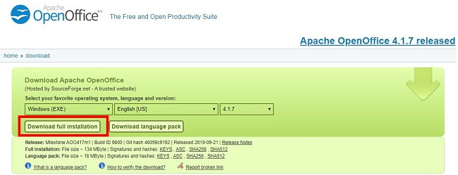 Download OpenOffice - Download hele installationen