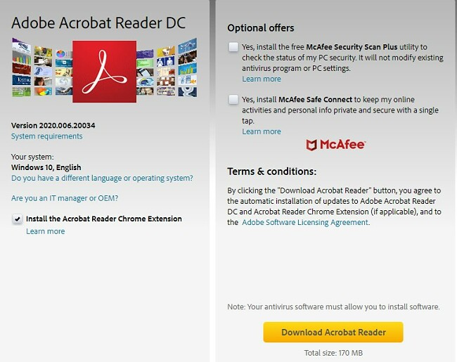 Adobe Acrobat Reader DC download-side