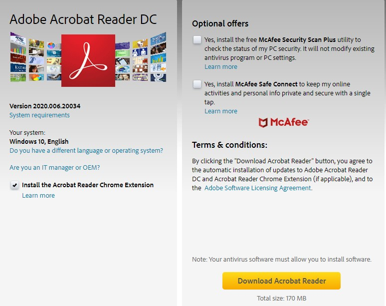 דף ההורדה של Adobe Acrobat Reader DC