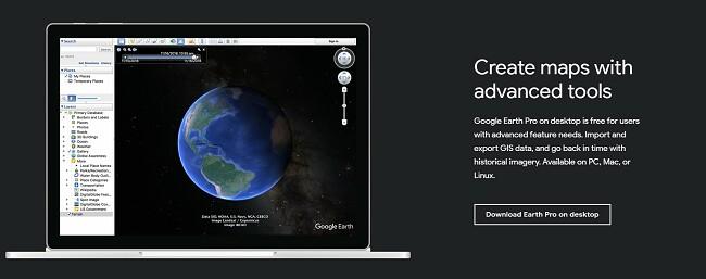 A Google Earth Pro hivatalos letöltési oldala