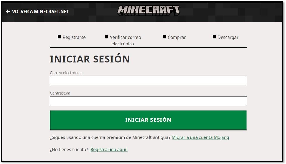 Crear cuenta en Minecraft