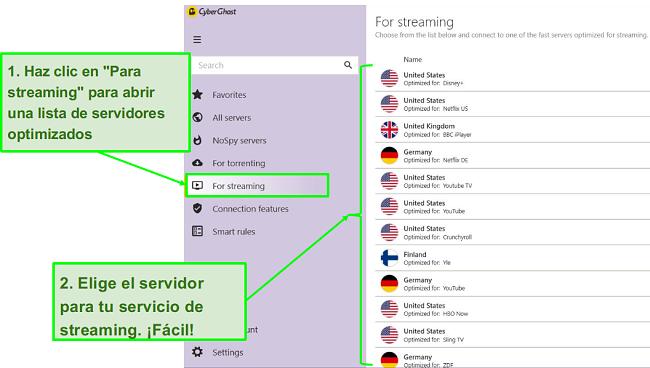Captura de pantalla de la aplicación CyberGhost VPN