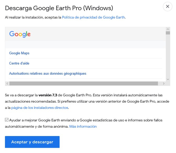 Descargar Google Earth Pro para escritorio