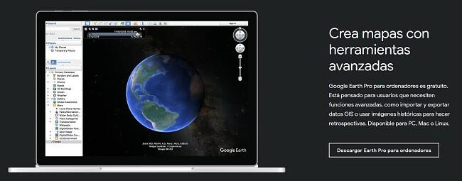 Página de descarga oficial de Google Earth Pro