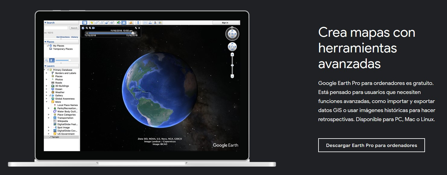 Página de descarga oficial de Google Earth Pro