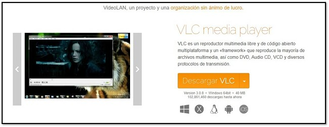 Página de descarga oficial de VLC