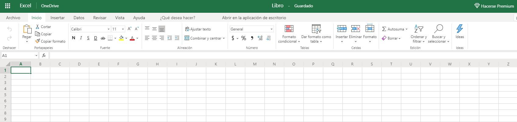 Excel gratuito basado en navegador