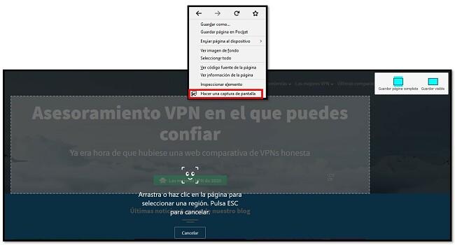 Herramienta de captura de pantalla de Firefox