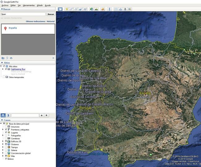 Interfaz de usuario de Google Earth Pro