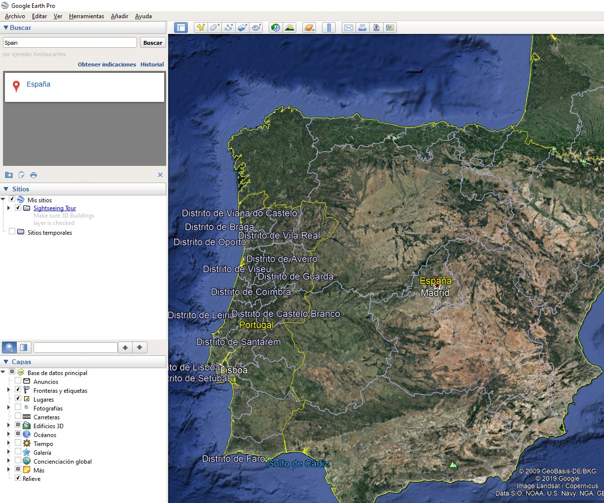 Interfaz de usuario de Google Earth Pro