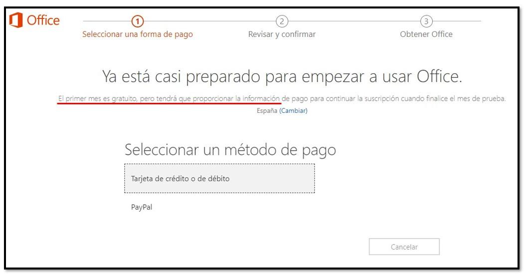 El primer mes de Office 365 es gratis.