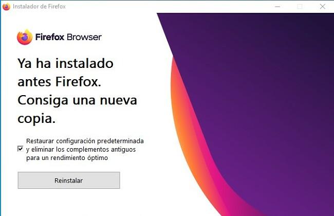 Reinstalar Firefox