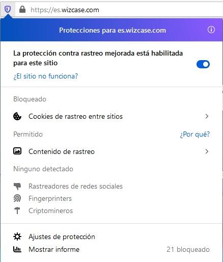 Protección de seguimiento de Firefox