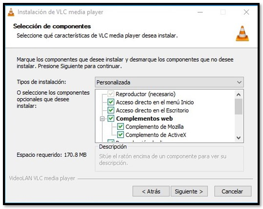 Opciones de configuración de VLC