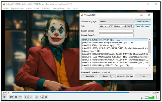 Agregar información de medios a VLC VLsub