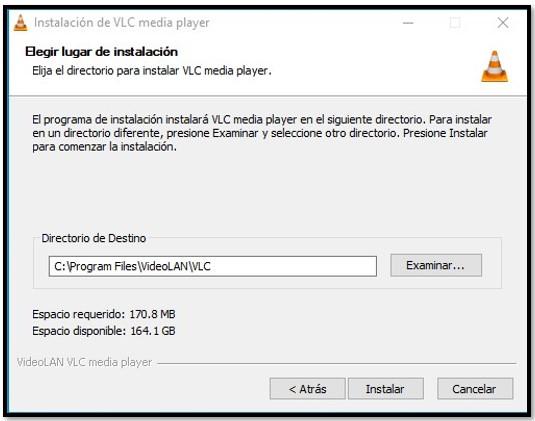 Ubicación de instalación de VLC