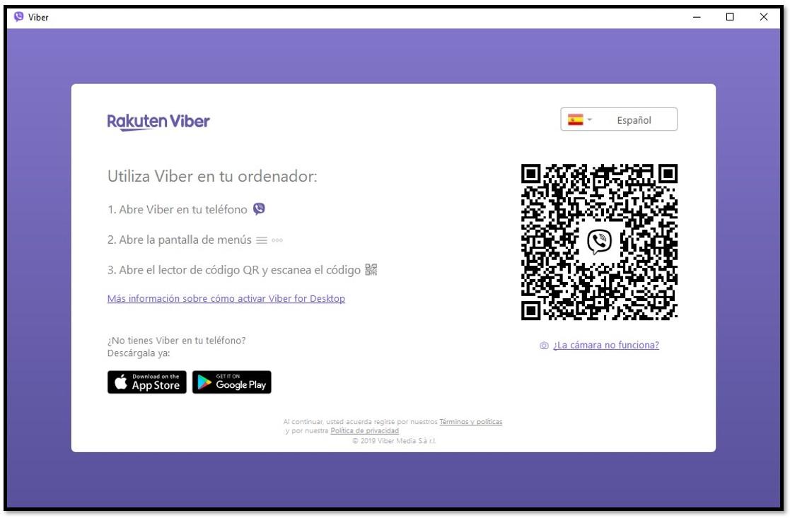 Escanee el código QR para usar Viber en la computadora
