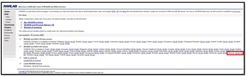 Página de descarga de WinRAR