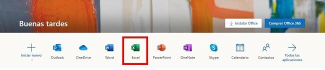 Office365 versión en línea de Excel