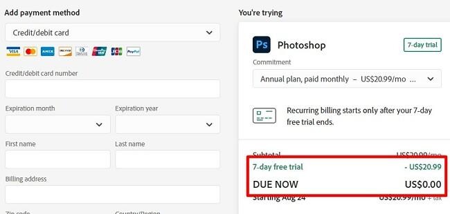 Geben Sie die Zahlungsinformationen für die kostenlose Testversion von Photoshop ein