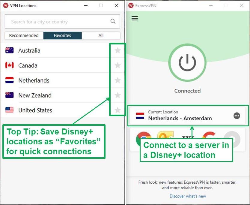 ExpressVPN has multiple servers in the 5 Disney+ service locations.