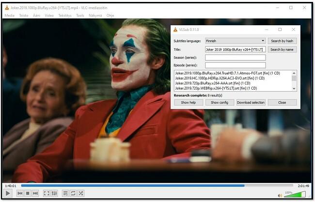 Lisää mediatiedot VLC VLsub -sovellukseen