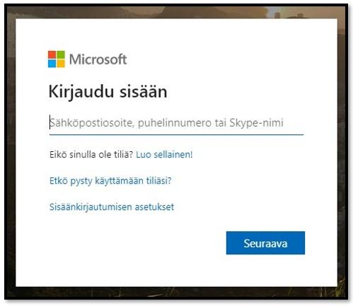 Microsoftin kirjautumissivu
